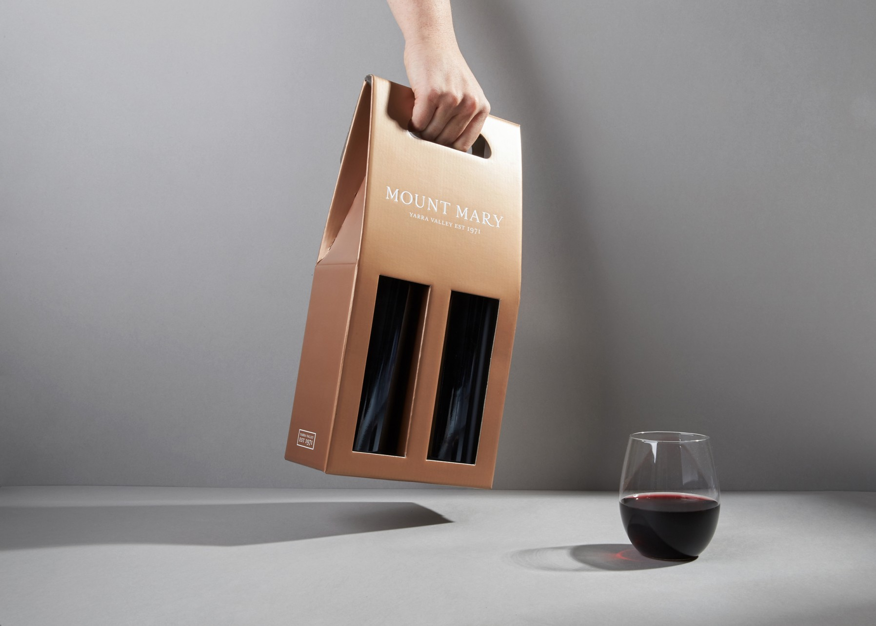 mount mary wine packaging and newsletter design